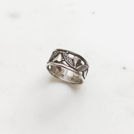 #11 silver heart botanical ring