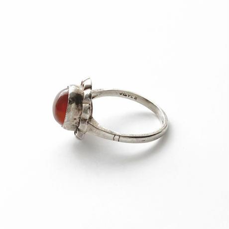 #15 silver flower carnelian ring