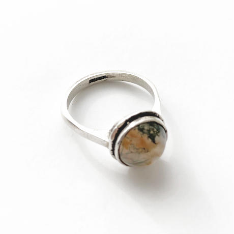 #14.5 silver moss agate ring