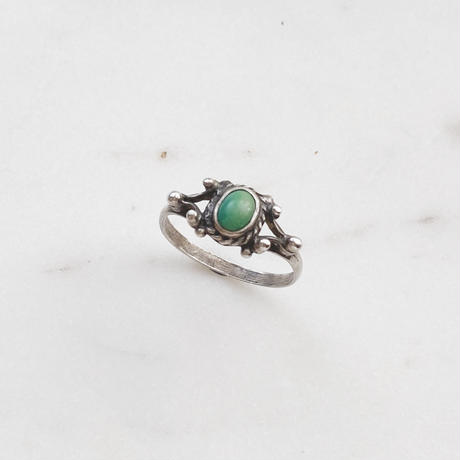 #14 silver green turquoise ring