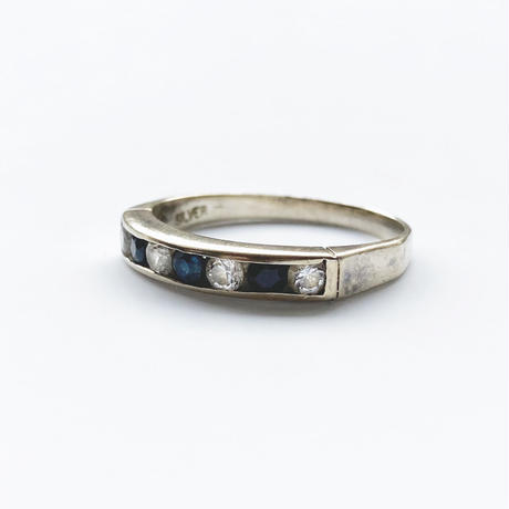 #18 silver blue&clearstone ring