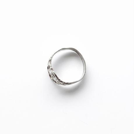 #5 silver flower motif ring