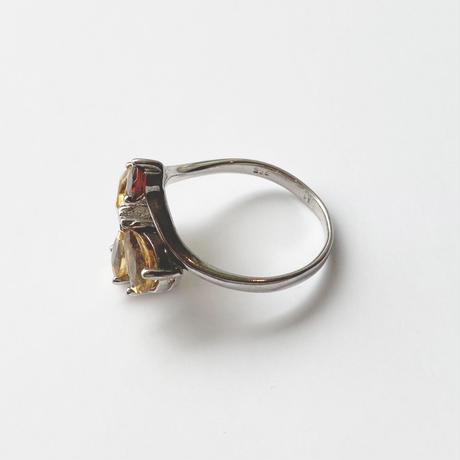 #11 silver citrine garnet ring