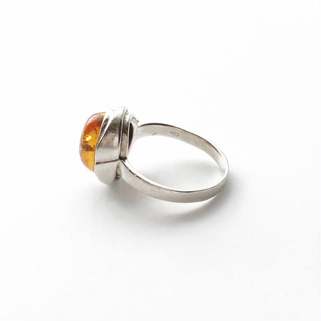 #9 silver amber oval ring