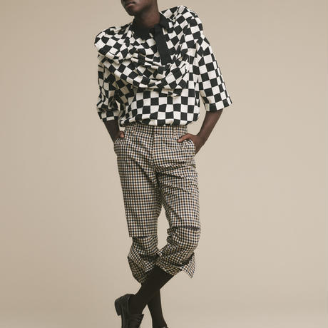 JieDa CHECKERED OVER T-SHIRT (NAT) Jie-20S-CT10