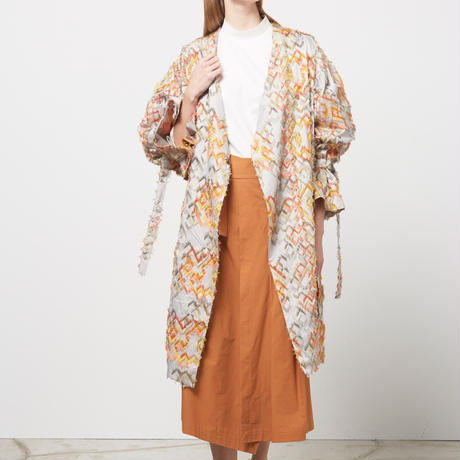 DK16-06-H01/Bias Cut Jacquard Light Coat