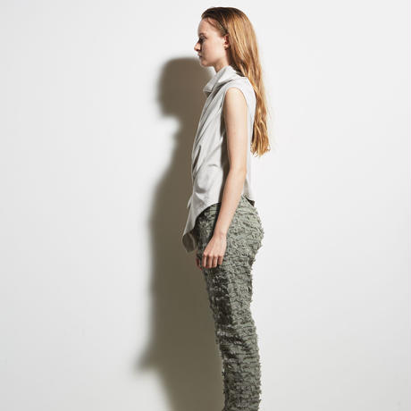 DK19-CS05-T01/Diorama Silky Milano Rib Asymmetry Top/2COLORS