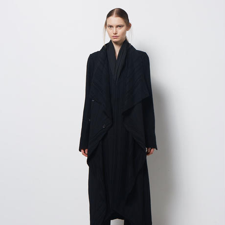 DK18-07-C06/Rayon Wool Shadow Stripes Layered Coat/1 COLOR