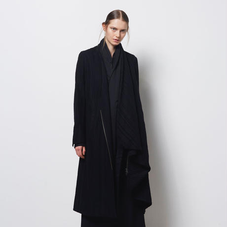 DK18-07-C04/Rayon Wool Shadow Stripes Asymmetry Coat/1 COLOR