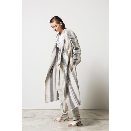 DK17-08-C05/Linen Multi Stripes Asymmetry  Coat