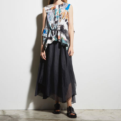 DK19-03-S03/Silk/Pe Chambray Organdy Skirt/2 COLORS