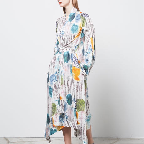 "DK16-01-D03/""Graze"" Print Modal Satin Long Sleeve Dress"