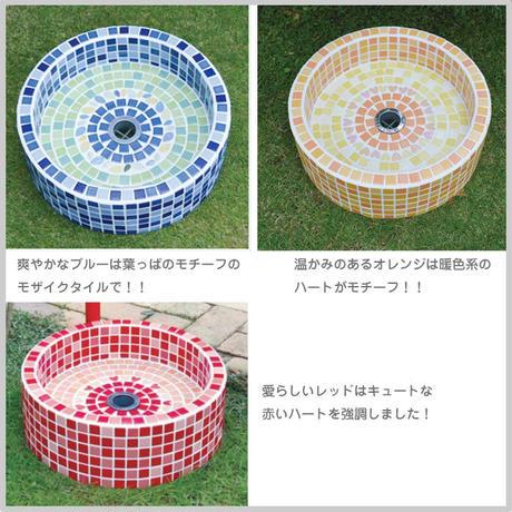 水栓パン プチサークルシンク 水受け モザイクタイル 全3色 立水栓 水栓柱 ガーデン 庭 水回り 流し タイル OO12-158