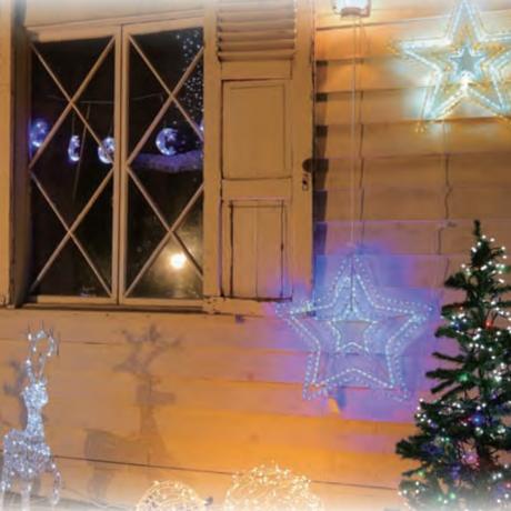 イルミネーション ディスプレイ 飾り 照明 ライティング クリスマス  星 LEDチューブスター白&青色【L2DM135WB】CR-75