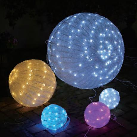 イルミネーション ディスプレイ 飾り 照明 ライティング クリスマス  LED 白色クリスタルボールライト85cm【L3D324W・白色】CR-87