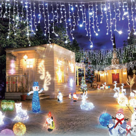 LED イルミネーション ディスプレイ 飾り 照明 ライティング クリスマス  雪 結晶 スノーフレーク つらら 白色 8連【LDCM070】CR-79