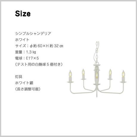 【5灯 シンプルシャンデリア】 (ホワイト)電球付 垂直型サークル 照明 JR