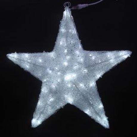 イルミネーション ディスプレイ 飾り 照明 ライティング クリスマス  星 白色LEDクリスタルスターライト(90㎝)【L3D263】CR-85