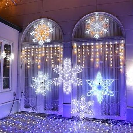 イルミネーション ディスプレイ 飾り 照明 ライティング クリスマス  雪 結晶 LED スノーフレーク つらら 白・電球色【 L2DM248 】 CR-79