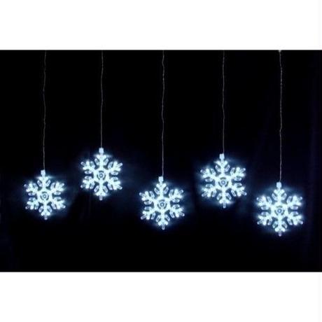 イルミネーション ディスプレイ 飾り 照明 ライティング クリスマス  雪 結晶 室内用 LED スノーフレーク カーテンライト 白色【LDCM049】CR-82