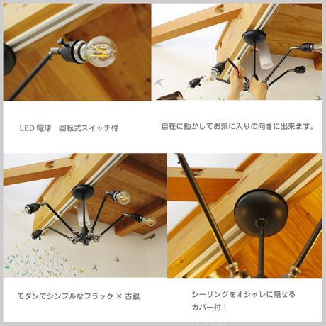LED 5灯 可動式 クモ インテリア 照明 ブラック モダン シンプル 角度調整可能 電球 ディスプレイ スポット JR