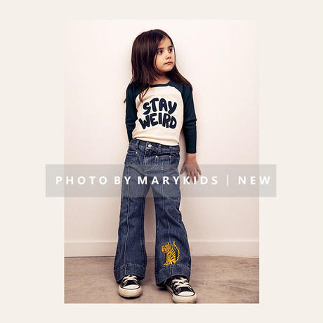 mini rodini ミニロディーニ   EXCLUSIVE TIGER FLARE DENIM JEANS パンツ 定価$105