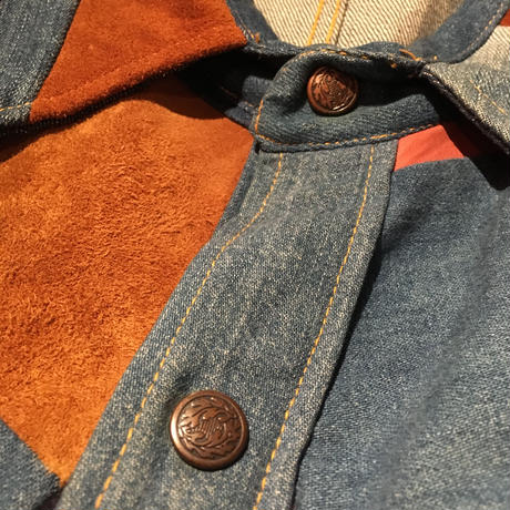 【Antonio  Giuseppe】  Vintage Denim×Leather Patchwork  Shirt