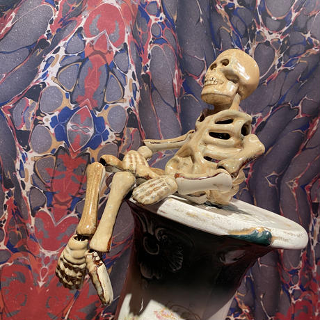 Vintage Ceramic Skeleton Candle Holder