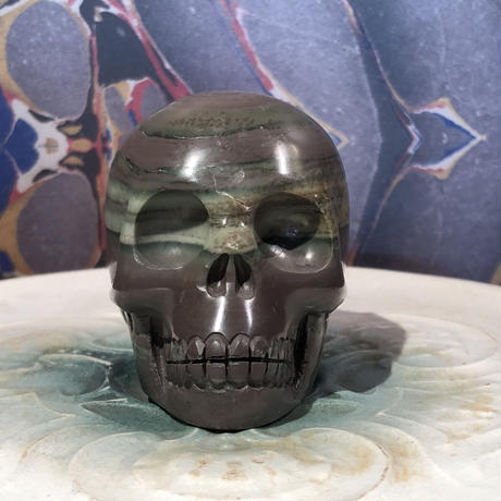 Natural Ribbon Jasper  Skull