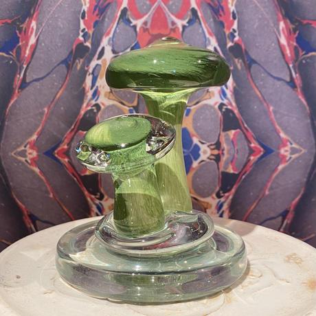 Vintage Murano Mushroom Art  Glass   ~green~