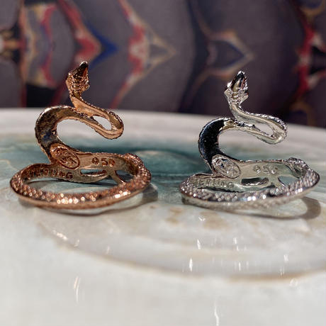 Sterling Silver 950  2TONE  Snake Ring
