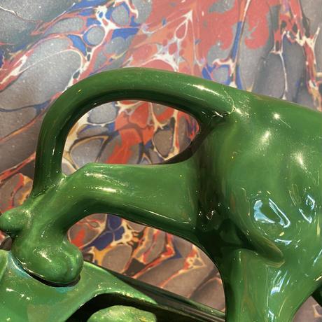 Vintage Lane & Co.1953  Green Panther Ceramic Planter