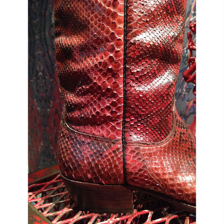 Vintage  LUCCHESE  Full Python  Snake  Skin  Cowboy  Boots