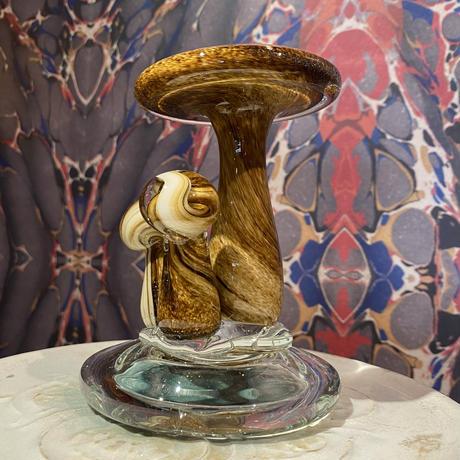 Vintage Murano Mushroom Art  Glass   ~marble brown~
