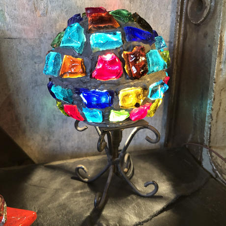 Vintage Rock Glass Art Table Lamp