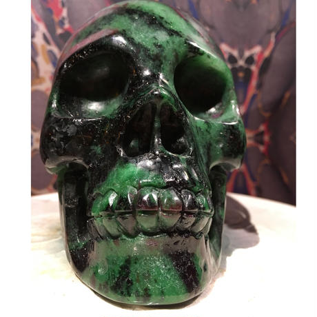 Natural  Ruby Zoisite  Gemstone Large Skull
