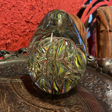 Vintage Psychedelic Art Glass Paperweight