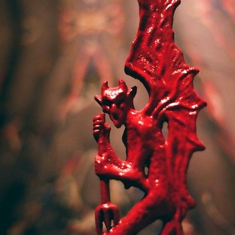 Antique  RED DEVIL  Candle  Stand