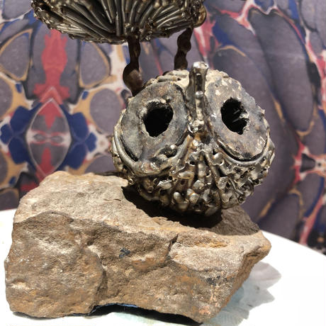 Vintage  Art Iron Owl  Statue