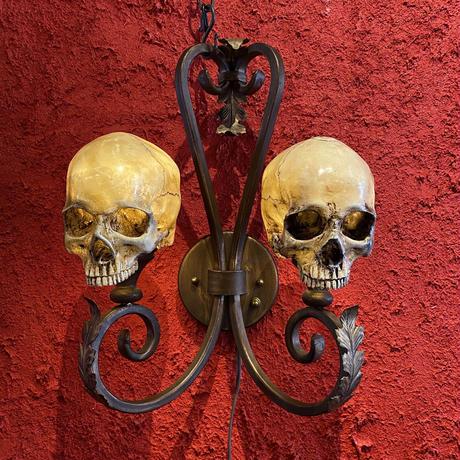 Twin Skull Iron Lamp