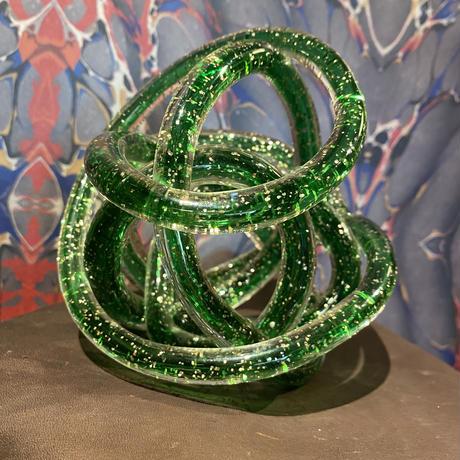 Vintage Green Spiral Art Glass