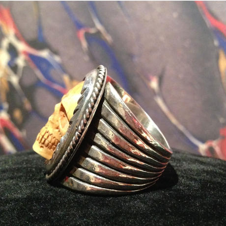 Vintage Water Buffalo Bone  Skull  Ring