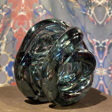 Vintage Gray  Spiral Art Glass