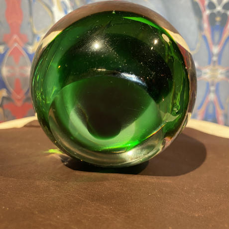 Vintage Green Art Glass Paperweight