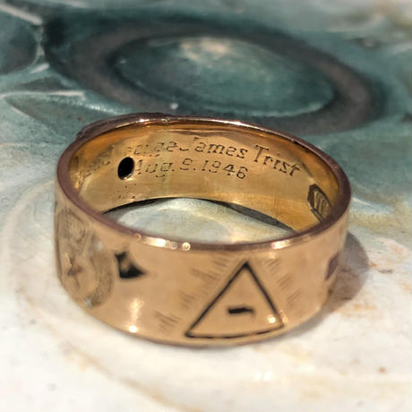 Vintage Double Eagle 32nd Degree Masonic 14k Gold Diamond Ring