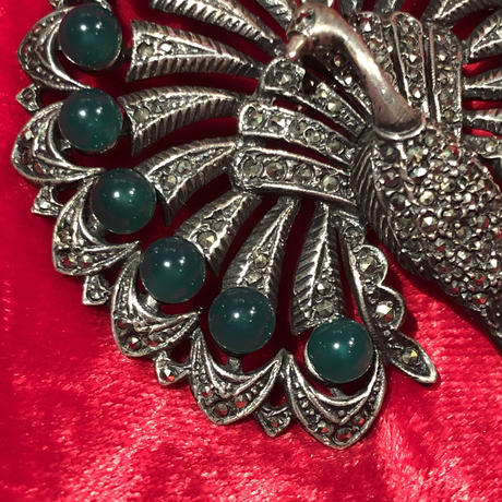 Antique 1800's  Sterling Silver Jade Peacock  Brooch Pin