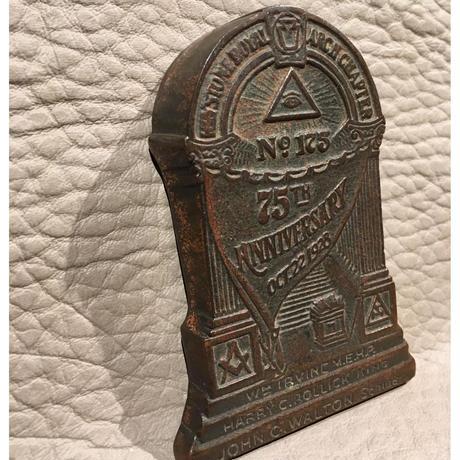 Vintage  Masonic  Bronze  Paperweight
