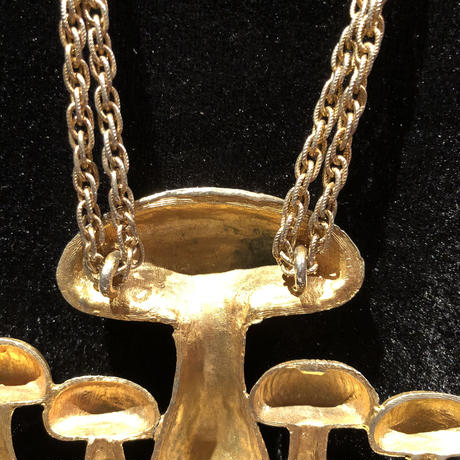Vintage Gold  Plated Mushroom Pendant  Necklace