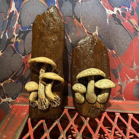 Vintage Mushroom Wood & Ceramic Art Wall