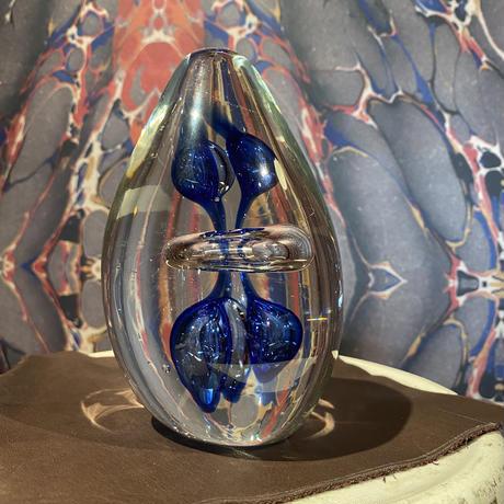 Vintage Blue  Swirl Art Glass Paperweight